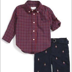 NWT Ralph Lauren Baby Boy 12m Christmas Pant Shirt